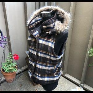 B.B. Dakota plaid vest w/ faux fur hoodie